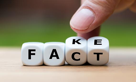 Foto von vier Würfeln, welche die alternativen Buchstabenkombinationen Fact und Fake anzeigen